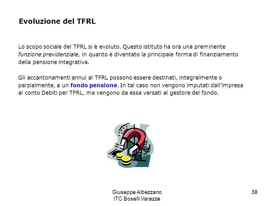 Giuseppe Albezzano ITC Boselli Varazze 38 Lo scopo sociale del TFRL si è evoluto. Questo istituto ha ora una preminente funzione previdenziale, in qua