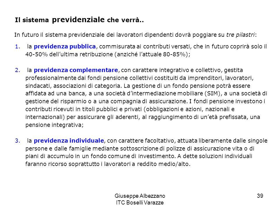 Giuseppe Albezzano ITC Boselli Varazze 39 Il sistema previdenziale che verrà.. In futuro il sistema previdenziale dei lavoratori dipendenti dovrà pogg