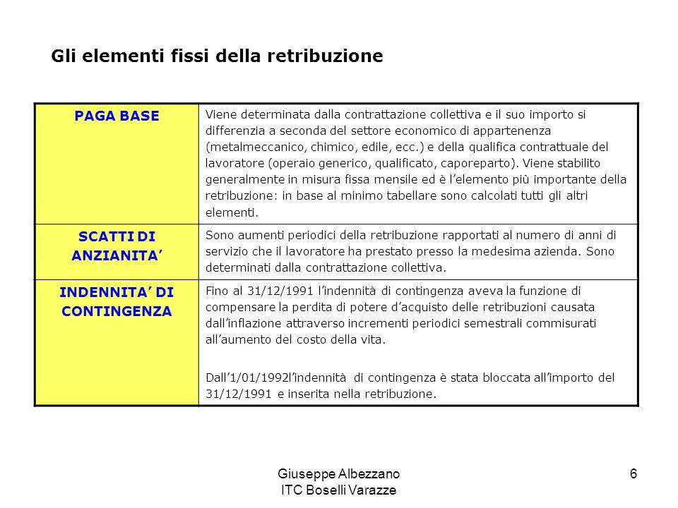 Giuseppe Albezzano ITC Boselli Varazze 6 Gli elementi fissi della retribuzione PAGA BASE Viene determinata dalla contrattazione collettiva e il suo im