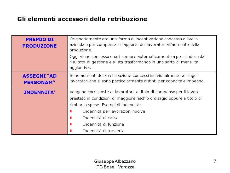 Giuseppe Albezzano ITC Boselli Varazze 7 Gli elementi accessori della retribuzione PREMIO DI PRODUZIONE Originariamente era una forma di incentivazion