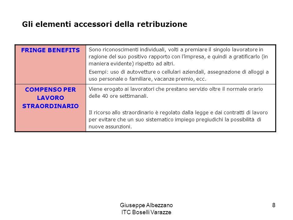 Giuseppe Albezzano ITC Boselli Varazze 8 Gli elementi accessori della retribuzione FRINGE BENEFITS Sono riconoscimenti individuali, volti a premiare il singolo lavoratore in ragione del suo positivo rapporto con limpresa, e quindi a gratificarlo (in maniera evidente) rispetto ad altri.