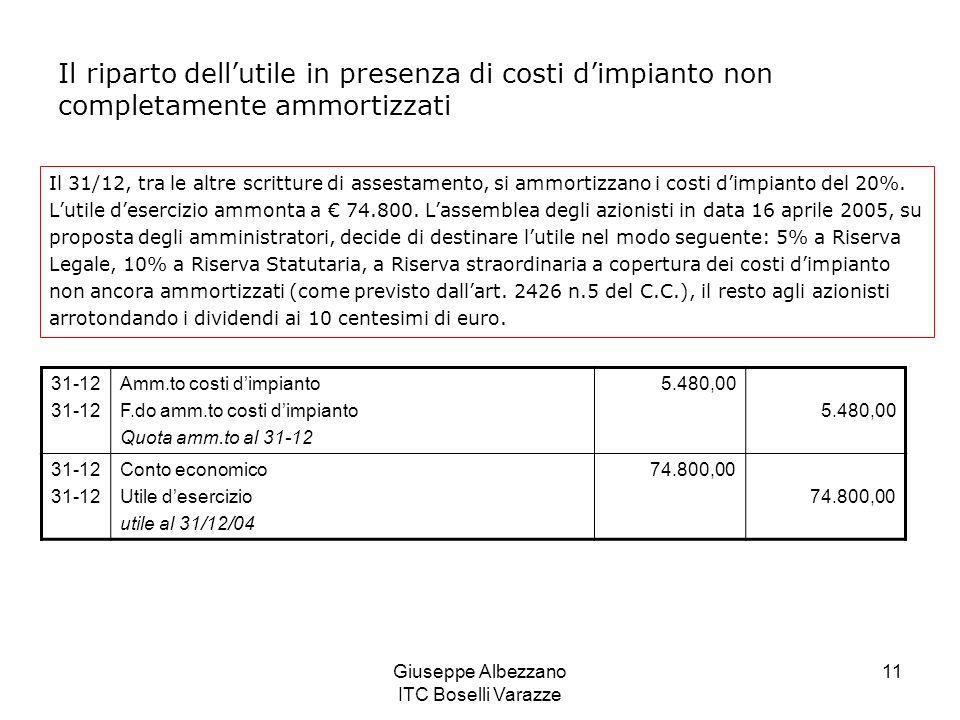 Giuseppe Albezzano ITC Boselli Varazze 11 Il riparto dellutile in presenza di costi dimpianto non completamente ammortizzati Il 31/12, tra le altre sc