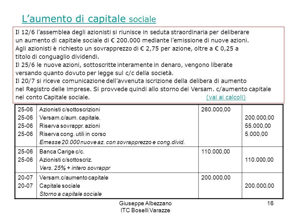 Giuseppe Albezzano ITC Boselli Varazze 16 Laumento di capitale sociale Il 12/6 lassemblea degli azionisti si riunisce in seduta straordinaria per deli