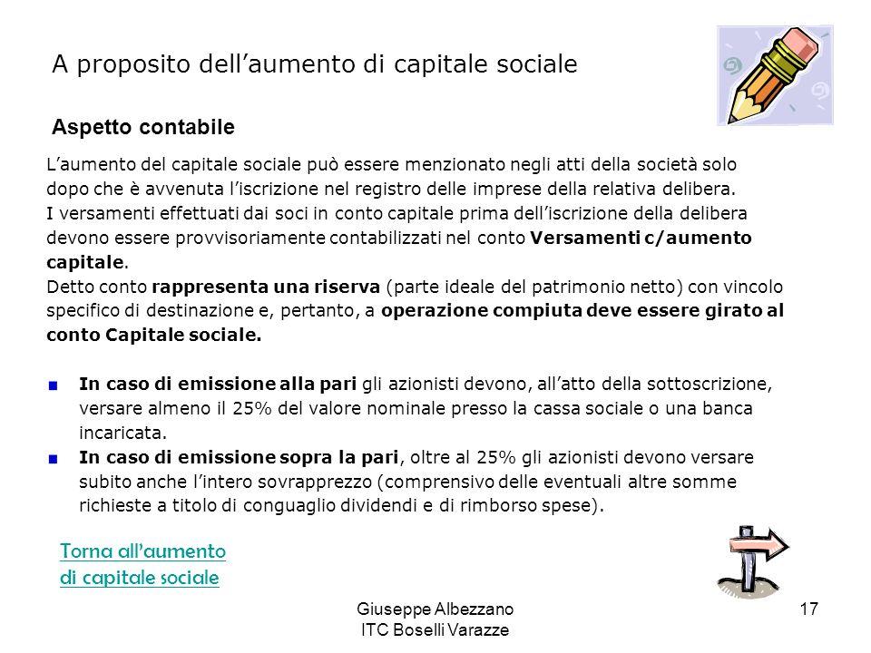 Giuseppe Albezzano ITC Boselli Varazze 17 Laumento del capitale sociale può essere menzionato negli atti della società solo dopo che è avvenuta liscri