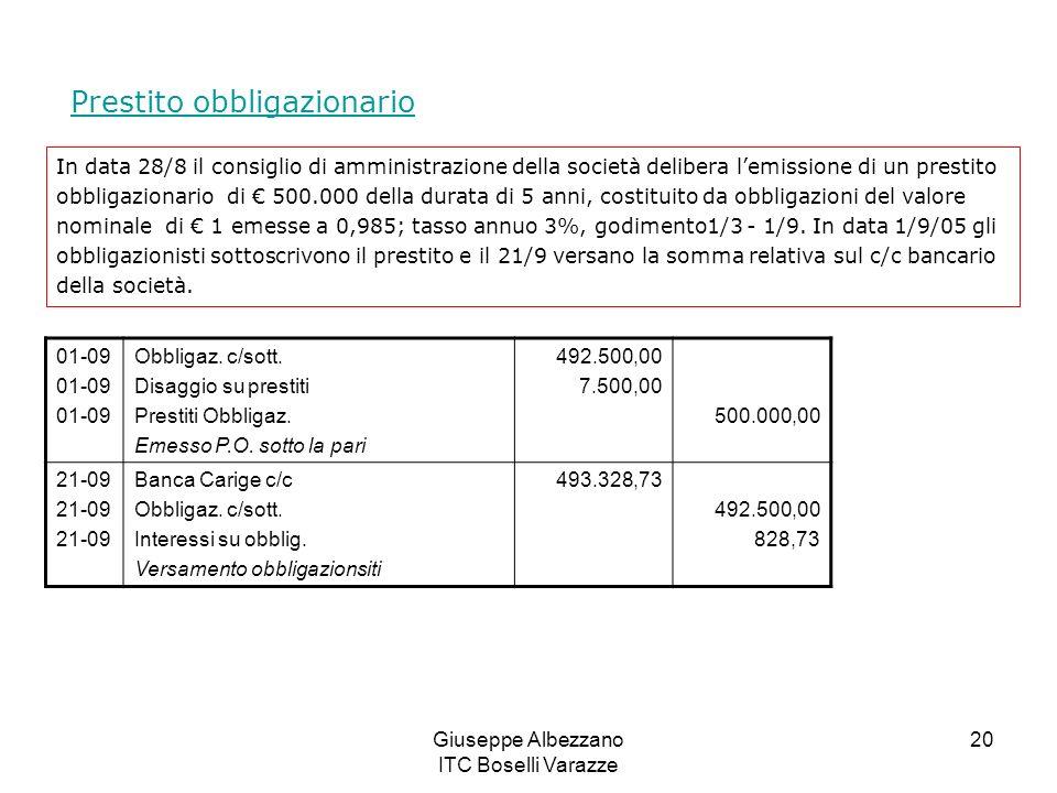 Giuseppe Albezzano ITC Boselli Varazze 20 Prestito obbligazionario In data 28/8 il consiglio di amministrazione della società delibera lemissione di u