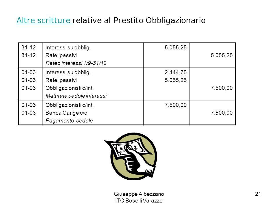 Giuseppe Albezzano ITC Boselli Varazze 21 Altre scritture Altre scritture relative al Prestito Obbligazionario 31-12 Interessi su obblig. Ratei passiv