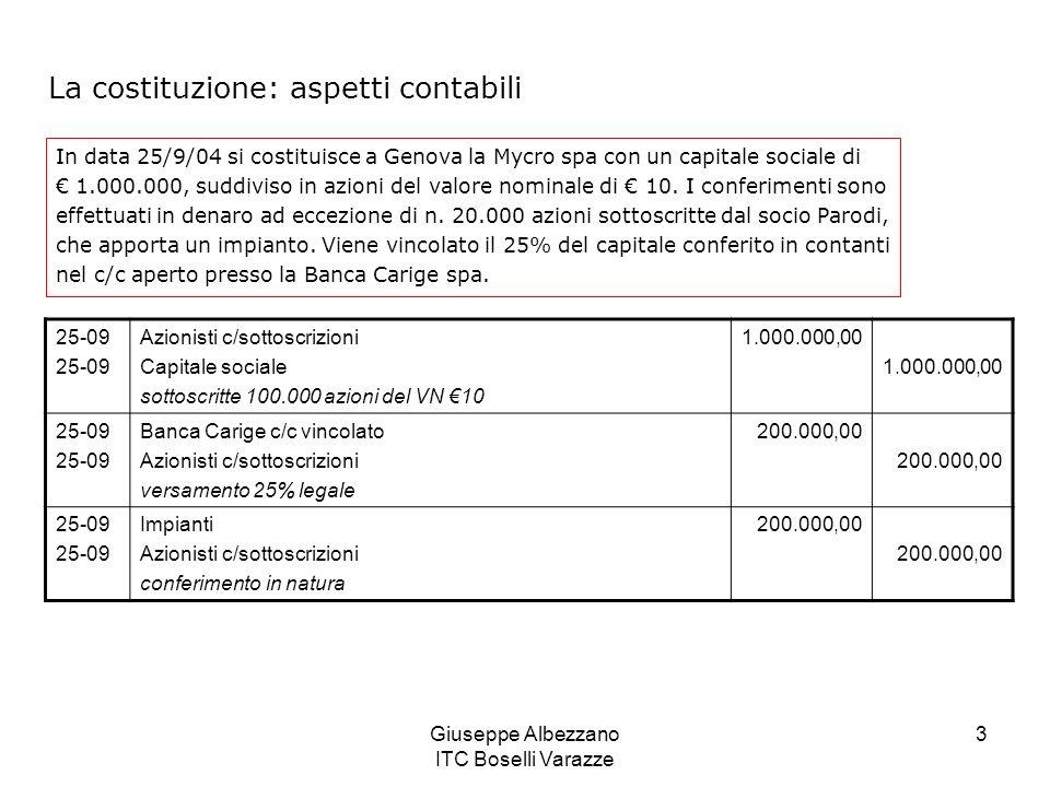 Giuseppe Albezzano ITC Boselli Varazze 3 La costituzione: aspetti contabili In data 25/9/04 si costituisce a Genova la Mycro spa con un capitale socia