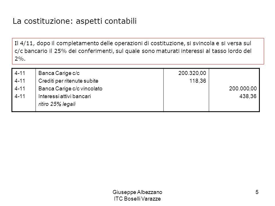 Giuseppe Albezzano ITC Boselli Varazze 6 Interessi maturati sul c/c vincolato: I = 200.000 x 40 x 2/36500 = 438,36 interessi lordi 438,36 x 27% = 118,36 ritenuta fiscale (438,36 – 118,36) = 320 interessi netti accreditati sul c/c bancario insieme ai 200.000 vincolati in base alla legge.