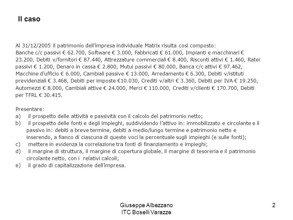 Giuseppe Albezzano ITC Boselli Varazze 2 Al 31/12/2005 il patrimonio dellimpresa individuale Matrix risulta così composto: Banche c/c passivi 62.700,