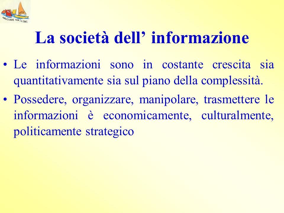 La società dell informazione Le informazioni sono in costante crescita sia quantitativamente sia sul piano della complessità. Possedere, organizzare,