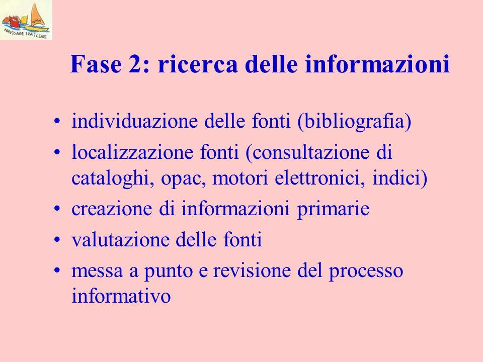 Fase 2: ricerca delle informazioni individuazione delle fonti (bibliografia) localizzazione fonti (consultazione di cataloghi, opac, motori elettronic
