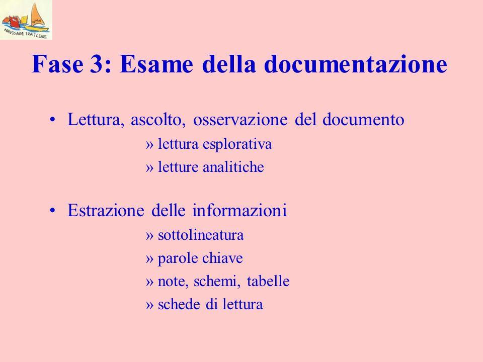 Fase 3: Esame della documentazione Lettura, ascolto, osservazione del documento »lettura esplorativa »letture analitiche Estrazione delle informazioni