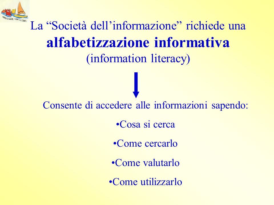 La Società dellinformazione richiede una alfabetizzazione informativa (information literacy) Consente di accedere alle informazioni sapendo: Cosa si c