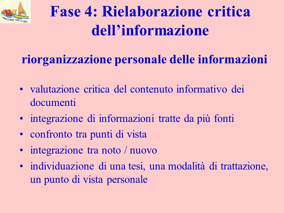 Fase 4: Rielaborazione critica dellinformazione valutazione critica del contenuto informativo dei documenti integrazione di informazioni tratte da più