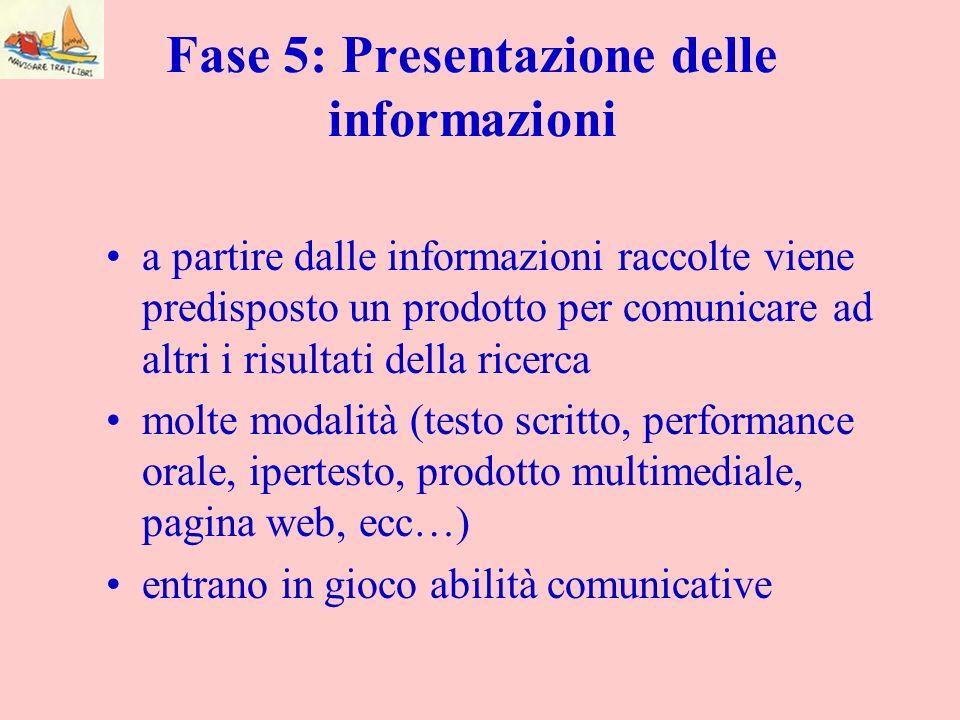 Fase 5: Presentazione delle informazioni a partire dalle informazioni raccolte viene predisposto un prodotto per comunicare ad altri i risultati della