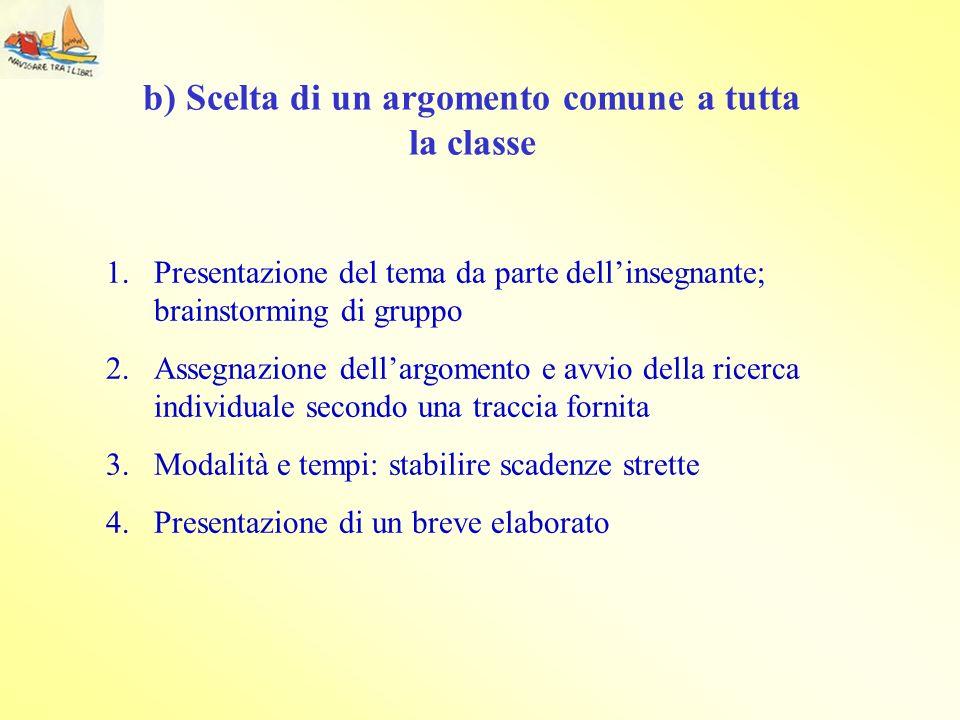 1.Presentazione del tema da parte dellinsegnante; brainstorming di gruppo 2.Assegnazione dellargomento e avvio della ricerca individuale secondo una t