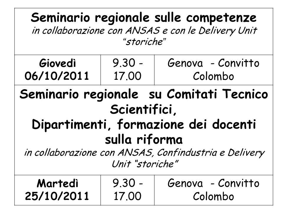 Seminario regionale sulle competenze in collaborazione con ANSAS e con le Delivery Unit storiche Gioved ì 06/10/2011 9.30 - 17.00 Genova - Convitto Co