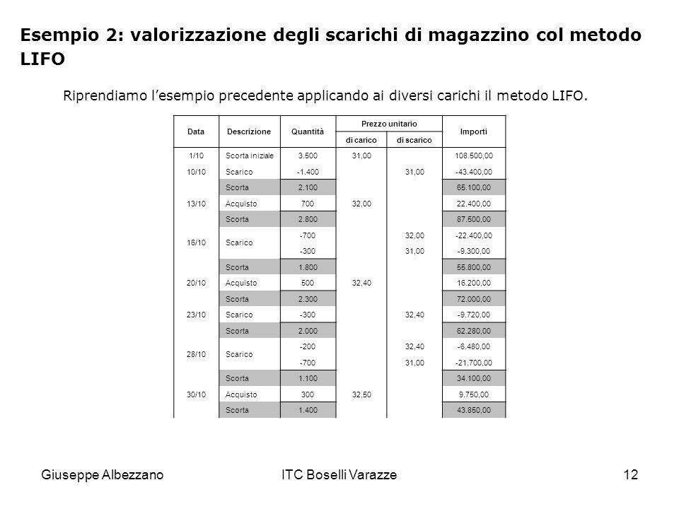 Giuseppe AlbezzanoITC Boselli Varazze12 Esempio 2: valorizzazione degli scarichi di magazzino col metodo LIFO Riprendiamo lesempio precedente applican