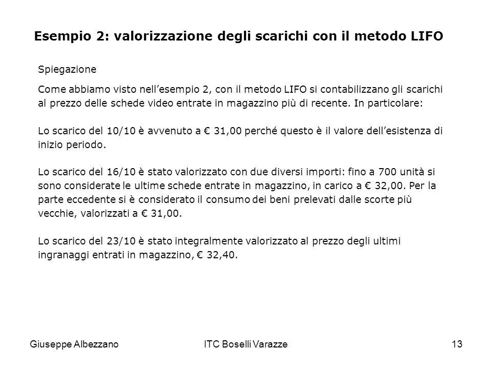 Giuseppe AlbezzanoITC Boselli Varazze13 Esempio 2: valorizzazione degli scarichi con il metodo LIFO Come abbiamo visto nellesempio 2, con il metodo LI