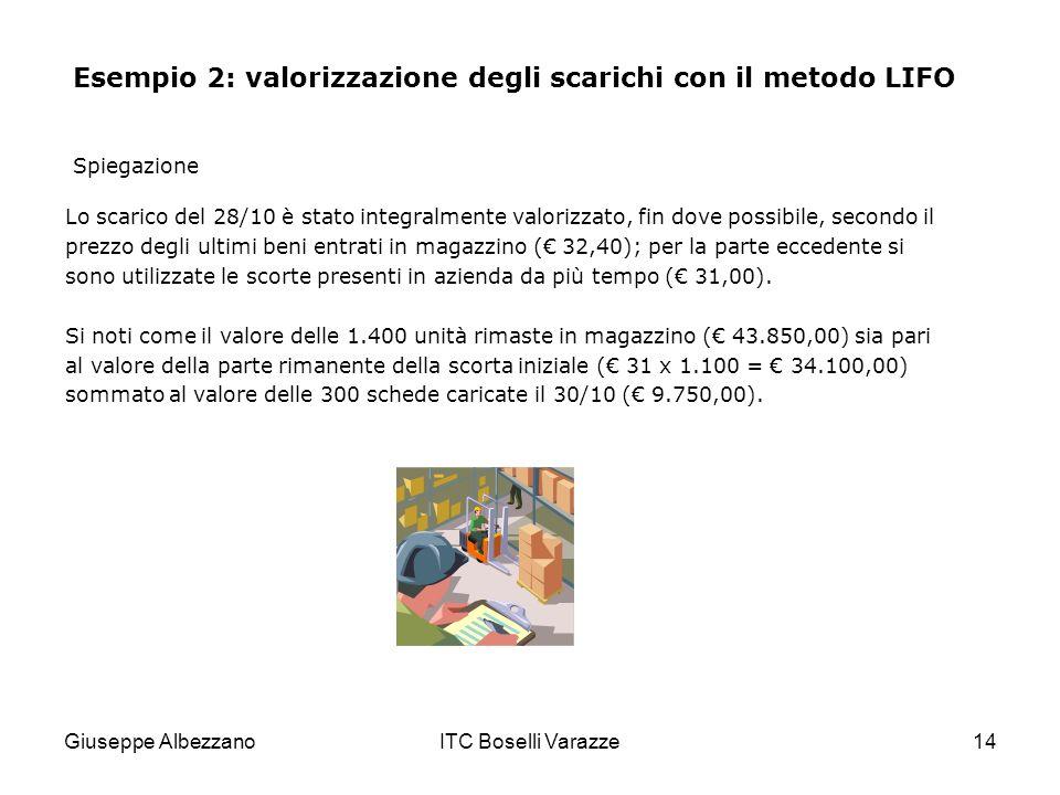 Giuseppe AlbezzanoITC Boselli Varazze14 Esempio 2: valorizzazione degli scarichi con il metodo LIFO Lo scarico del 28/10 è stato integralmente valoriz
