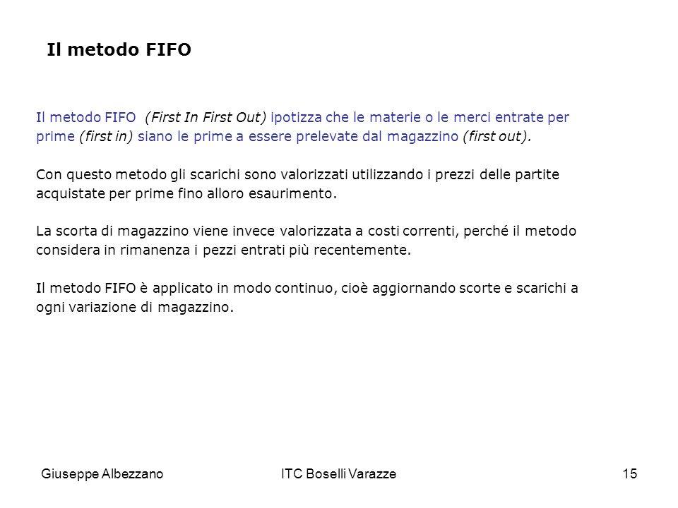 Giuseppe AlbezzanoITC Boselli Varazze15 Il metodo FIFO Il metodo FIFO (First In First Out) ipotizza che le materie o le merci entrate per prime (first