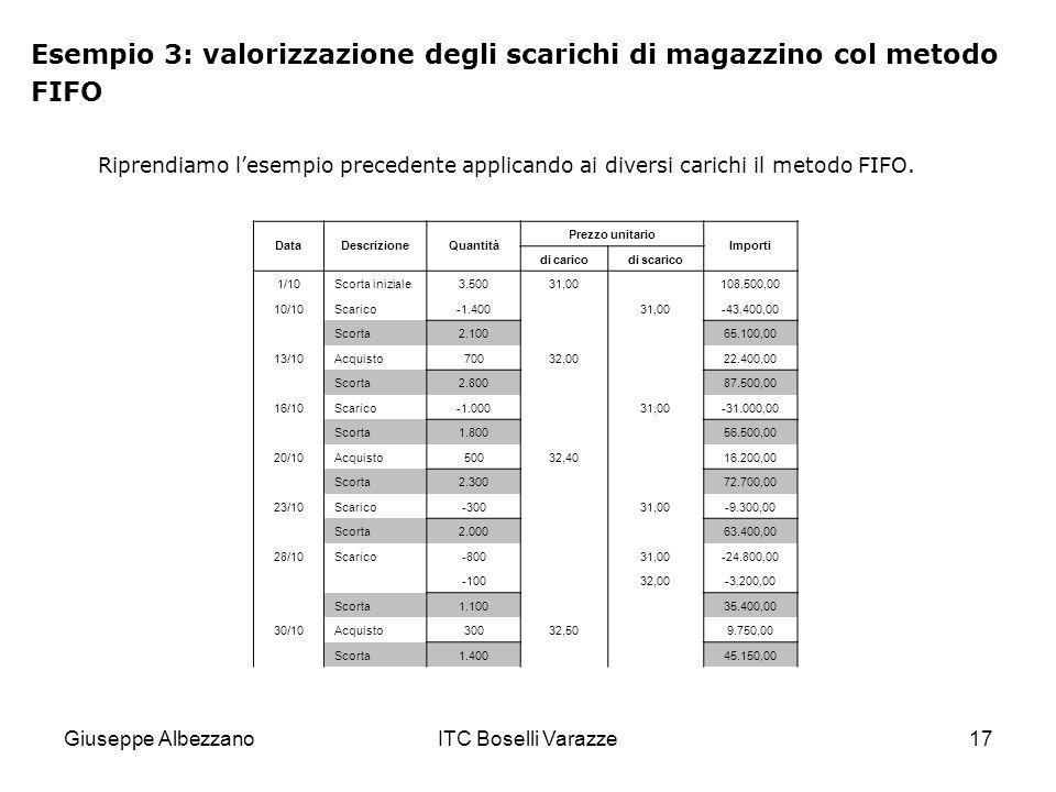 Giuseppe AlbezzanoITC Boselli Varazze17 Esempio 3: valorizzazione degli scarichi di magazzino col metodo FIFO Riprendiamo lesempio precedente applican
