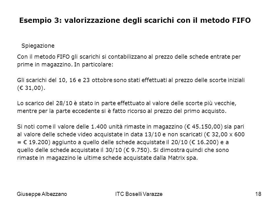 Giuseppe AlbezzanoITC Boselli Varazze18 Esempio 3: valorizzazione degli scarichi con il metodo FIFO Con il metodo FIFO gli scarichi si contabilizzano