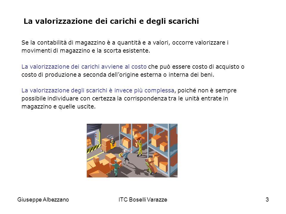 Giuseppe AlbezzanoITC Boselli Varazze3 La valorizzazione dei carichi e degli scarichi Se la contabilità di magazzino è a quantità e a valori, occorre