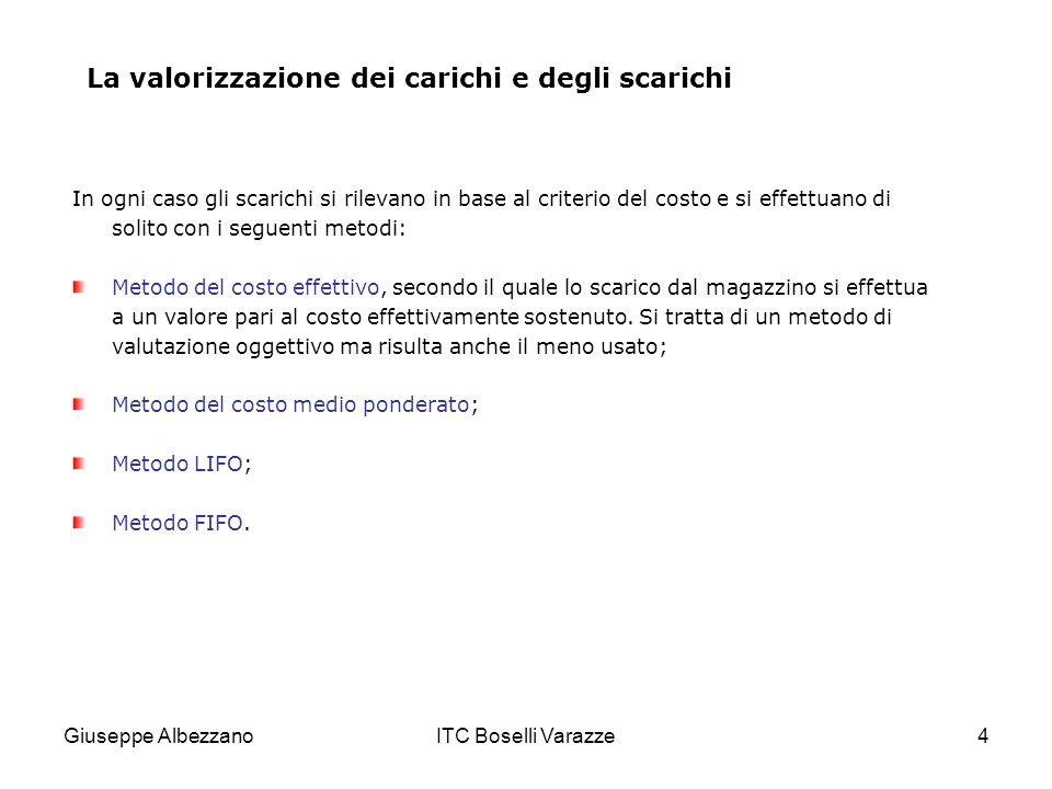 Giuseppe AlbezzanoITC Boselli Varazze4 La valorizzazione dei carichi e degli scarichi In ogni caso gli scarichi si rilevano in base al criterio del co