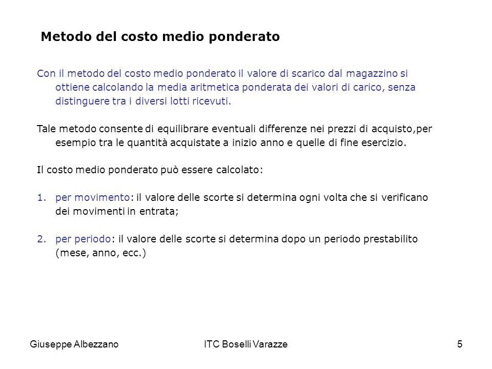Giuseppe AlbezzanoITC Boselli Varazze5 Metodo del costo medio ponderato Con il metodo del costo medio ponderato il valore di scarico dal magazzino si
