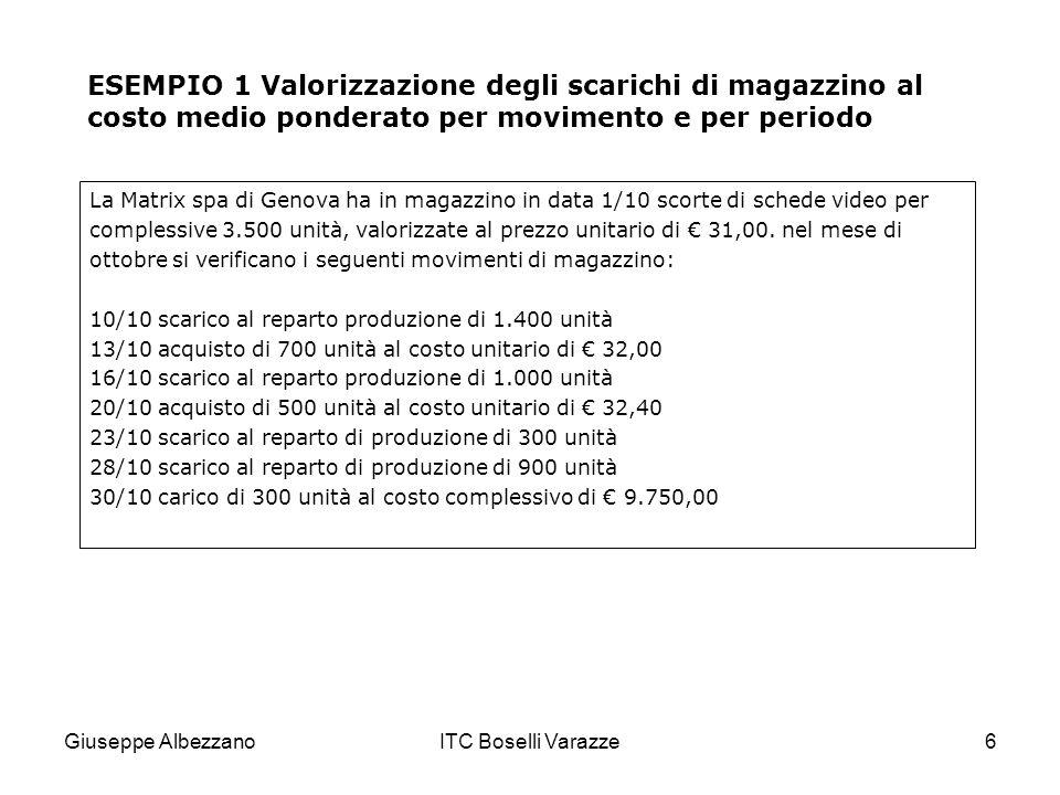 Giuseppe AlbezzanoITC Boselli Varazze6 ESEMPIO 1 Valorizzazione degli scarichi di magazzino al costo medio ponderato per movimento e per periodo La Ma