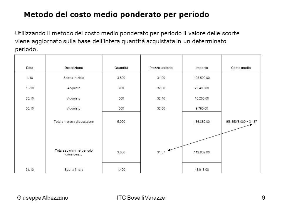 Giuseppe AlbezzanoITC Boselli Varazze9 Utilizzando il metodo del costo medio ponderato per periodo il valore delle scorte viene aggiornato sulla base