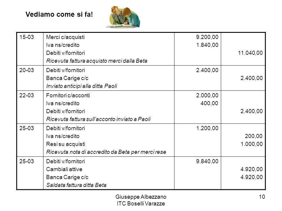 Giuseppe Albezzano ITC Boselli Varazze 10 15-03Merci c/acquisti Iva ns/credito Debiti v/fornitori Ricevuta fattura acquisto merci dalla Beta 9.200,00