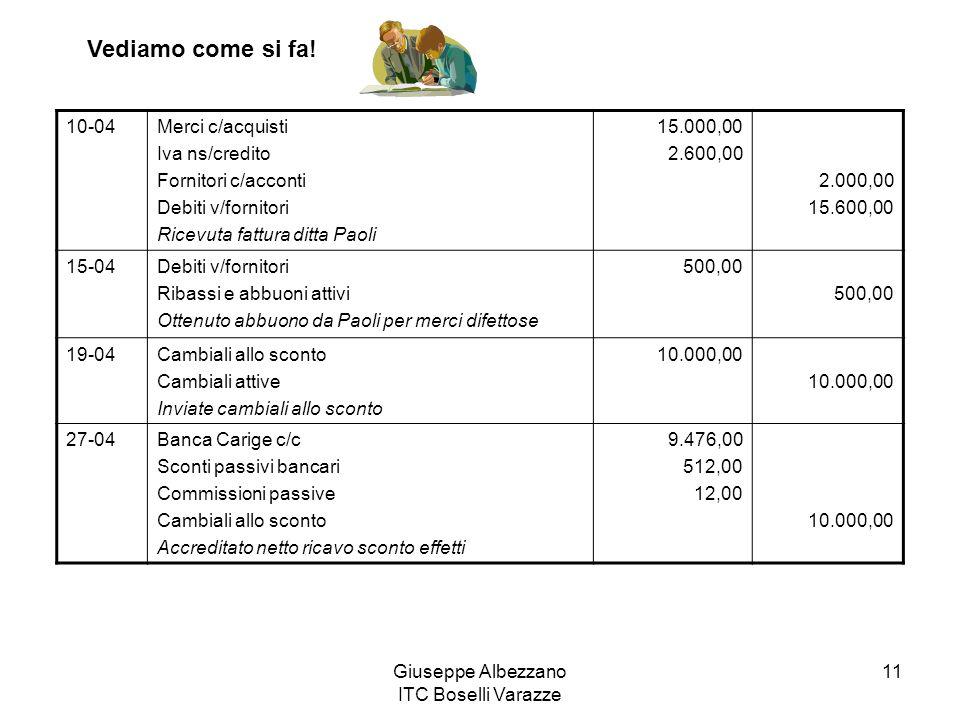 Giuseppe Albezzano ITC Boselli Varazze 11 10-04Merci c/acquisti Iva ns/credito Fornitori c/acconti Debiti v/fornitori Ricevuta fattura ditta Paoli 15.