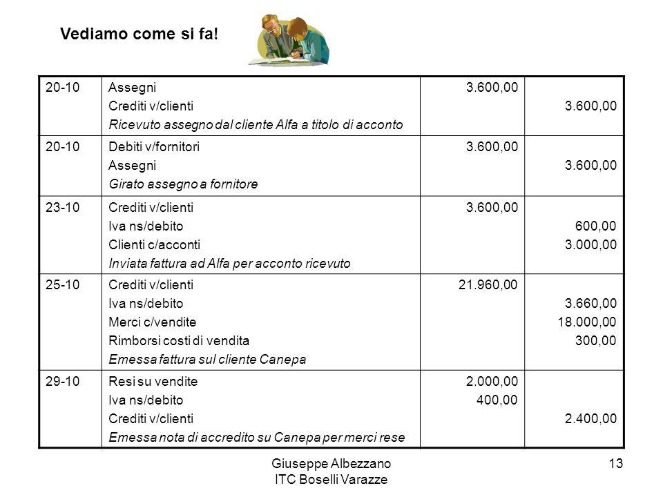 Giuseppe Albezzano ITC Boselli Varazze 13 20-10Assegni Crediti v/clienti Ricevuto assegno dal cliente Alfa a titolo di acconto 3.600,00 20-10Debiti v/