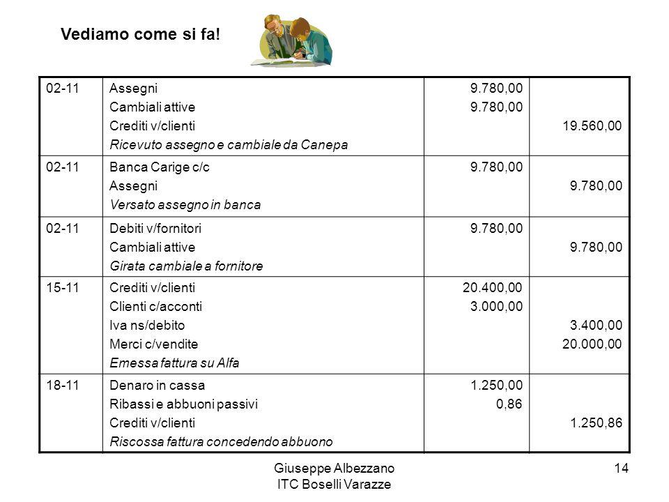Giuseppe Albezzano ITC Boselli Varazze 14 02-11Assegni Cambiali attive Crediti v/clienti Ricevuto assegno e cambiale da Canepa 9.780,00 19.560,00 02-1