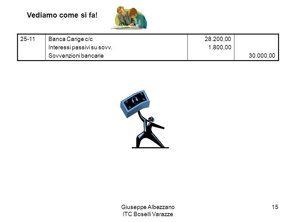 Giuseppe Albezzano ITC Boselli Varazze 15 25-11Banca Carige c/c Interessi passivi su sovv. Sovvenzioni bancarie 28.200,00 1.800,00 30.000,00 Vediamo c