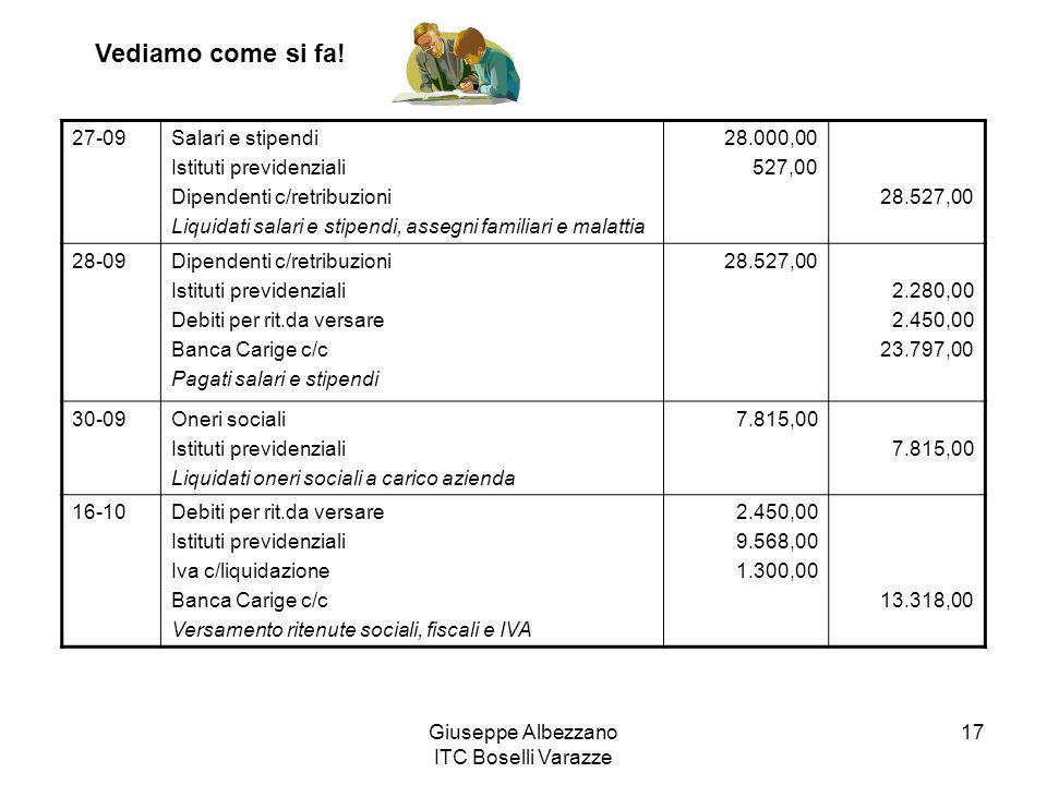 Giuseppe Albezzano ITC Boselli Varazze 17 27-09Salari e stipendi Istituti previdenziali Dipendenti c/retribuzioni Liquidati salari e stipendi, assegni