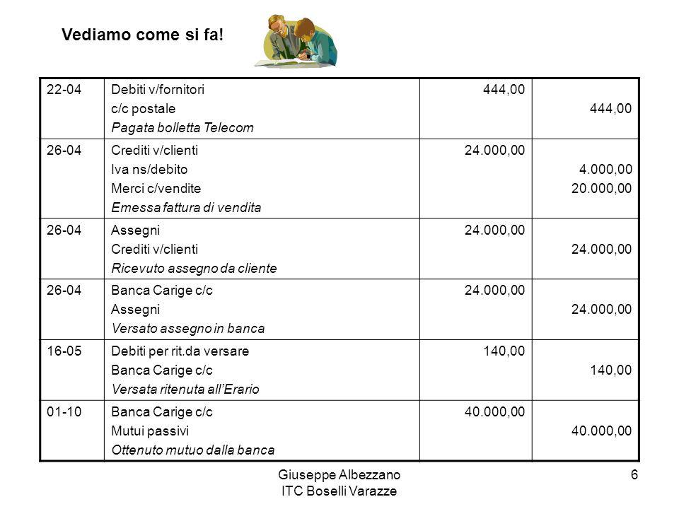 Giuseppe Albezzano ITC Boselli Varazze 17 27-09Salari e stipendi Istituti previdenziali Dipendenti c/retribuzioni Liquidati salari e stipendi, assegni familiari e malattia 28.000,00 527,00 28.527,00 28-09Dipendenti c/retribuzioni Istituti previdenziali Debiti per rit.da versare Banca Carige c/c Pagati salari e stipendi 28.527,00 2.280,00 2.450,00 23.797,00 30-09Oneri sociali Istituti previdenziali Liquidati oneri sociali a carico azienda 7.815,00 16-10Debiti per rit.da versare Istituti previdenziali Iva c/liquidazione Banca Carige c/c Versamento ritenute sociali, fiscali e IVA 2.450,00 9.568,00 1.300,00 13.318,00 Vediamo come si fa!