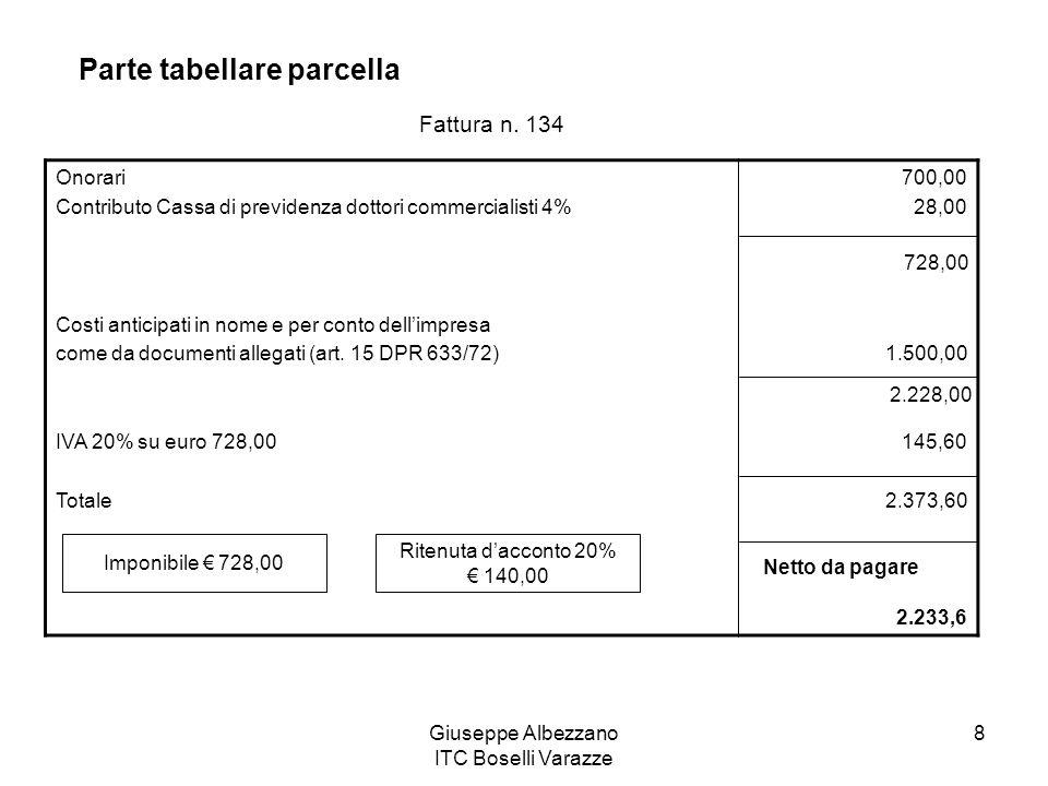Giuseppe Albezzano ITC Boselli Varazze 8 Parte tabellare parcella Onorari Contributo Cassa di previdenza dottori commercialisti 4% Costi anticipati in