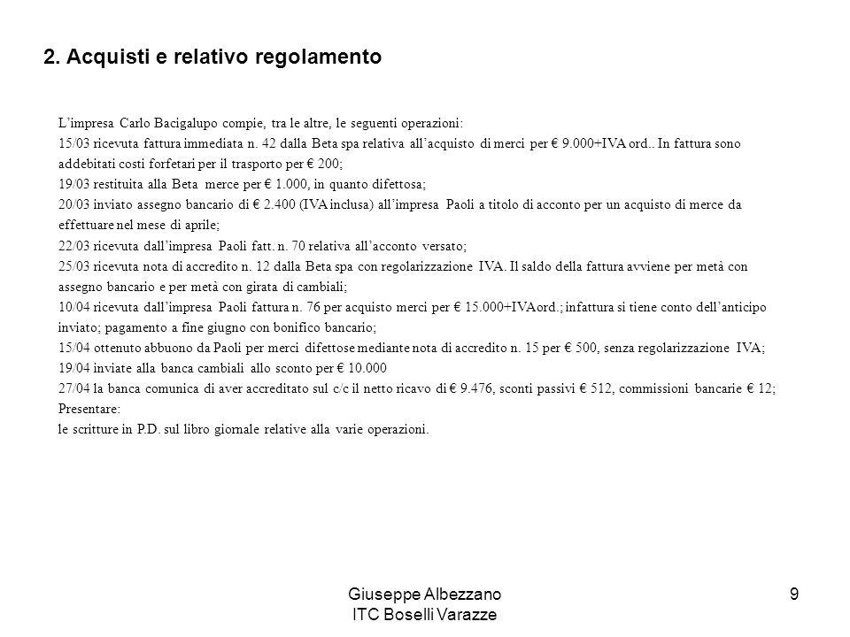 Giuseppe Albezzano ITC Boselli Varazze 9 Limpresa Carlo Bacigalupo compie, tra le altre, le seguenti operazioni: 15/03 ricevuta fattura immediata n. 4