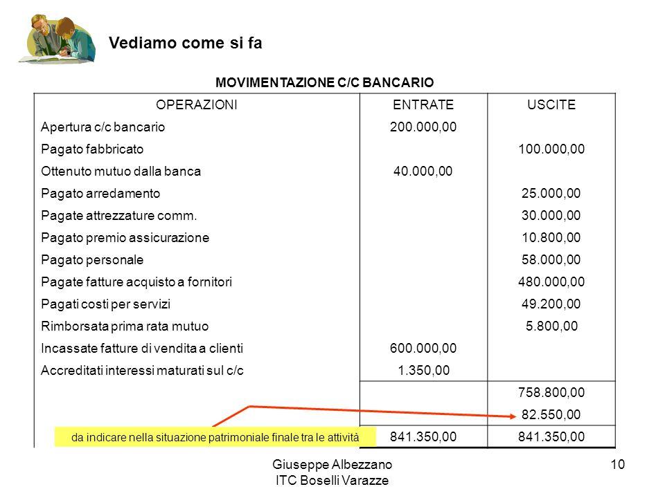 Giuseppe Albezzano ITC Boselli Varazze 10 Vediamo come si fa MOVIMENTAZIONE C/C BANCARIO OPERAZIONIENTRATEUSCITE Apertura c/c bancario200.000,00 Pagat