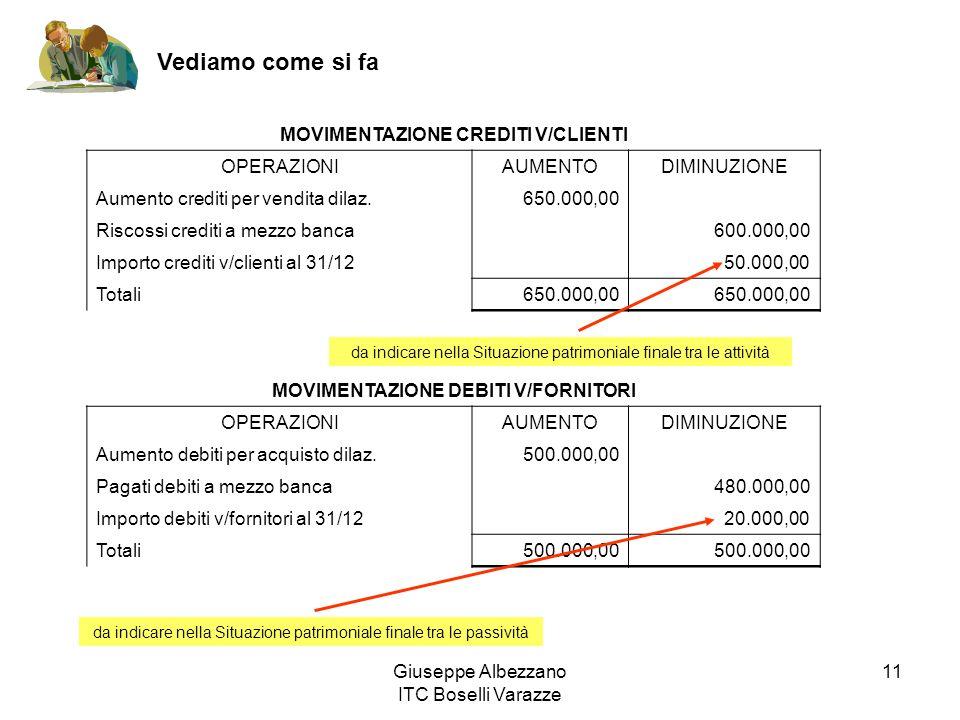 Giuseppe Albezzano ITC Boselli Varazze 11 Vediamo come si fa MOVIMENTAZIONE CREDITI V/CLIENTI OPERAZIONIAUMENTODIMINUZIONE Aumento crediti per vendita