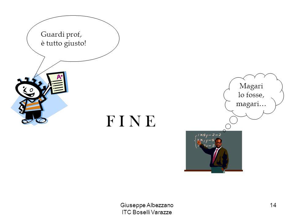 Giuseppe Albezzano ITC Boselli Varazze 14 Guardi prof, è tutto giusto! F I N E Magari lo fosse, magari…