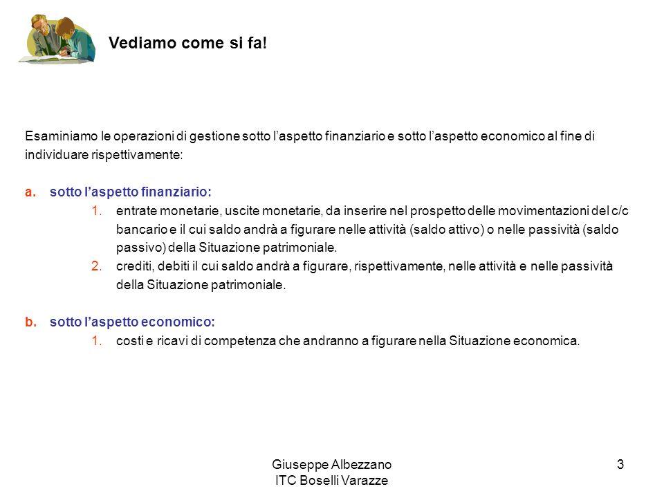 Giuseppe Albezzano ITC Boselli Varazze 3 Vediamo come si fa! Esaminiamo le operazioni di gestione sotto laspetto finanziario e sotto laspetto economic