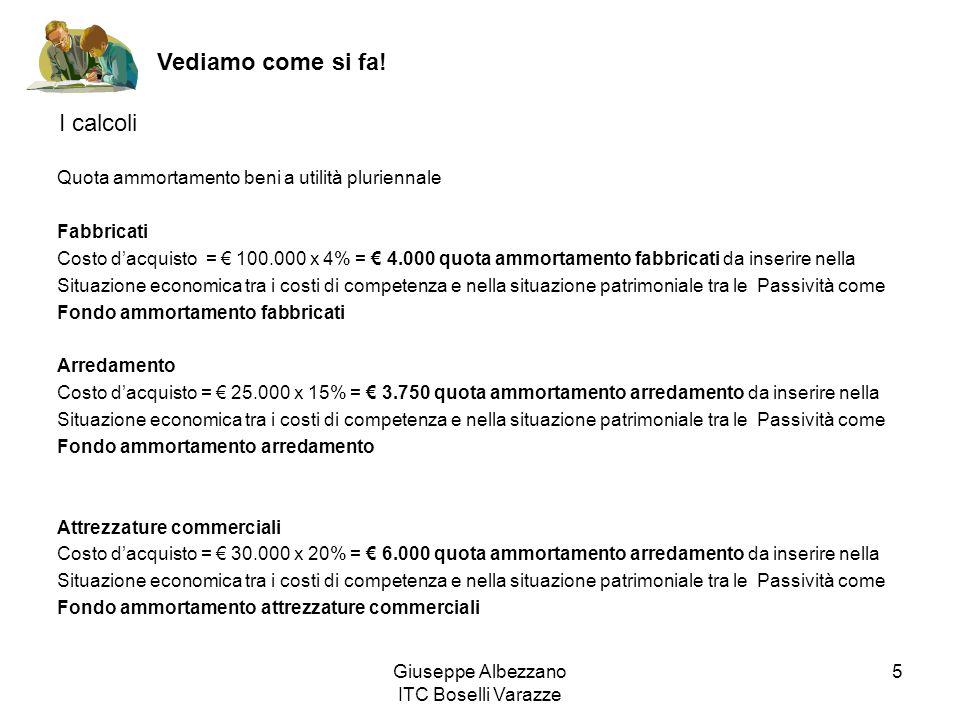 Giuseppe Albezzano ITC Boselli Varazze 5 Vediamo come si fa! I calcoli Quota ammortamento beni a utilità pluriennale Fabbricati Costo dacquisto = 100.