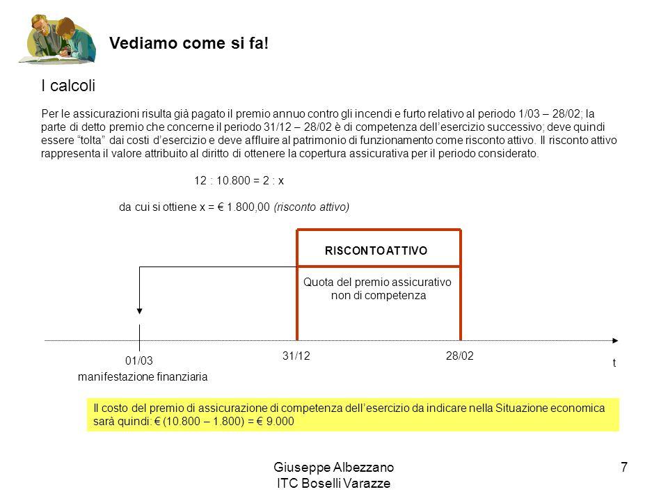 Giuseppe Albezzano ITC Boselli Varazze 7 Per le assicurazioni risulta già pagato il premio annuo contro gli incendi e furto relativo al periodo 1/03 –
