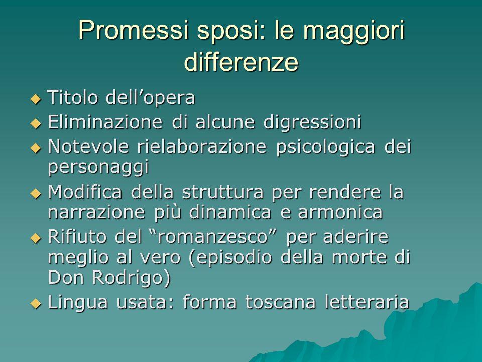 Promessi sposi: le maggiori differenze Titolo dellopera Titolo dellopera Eliminazione di alcune digressioni Eliminazione di alcune digressioni Notevol