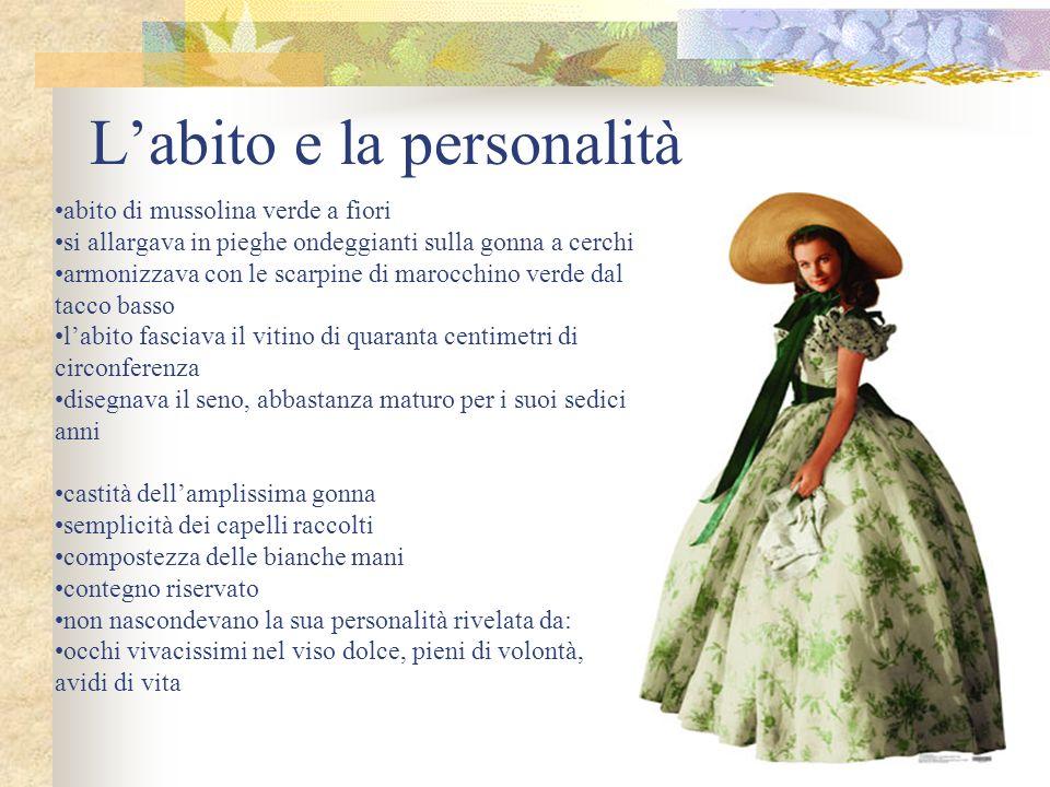 Labito e la personalità abito di mussolina verde a fiori si allargava in pieghe ondeggianti sulla gonna a cerchi armonizzava con le scarpine di marocc