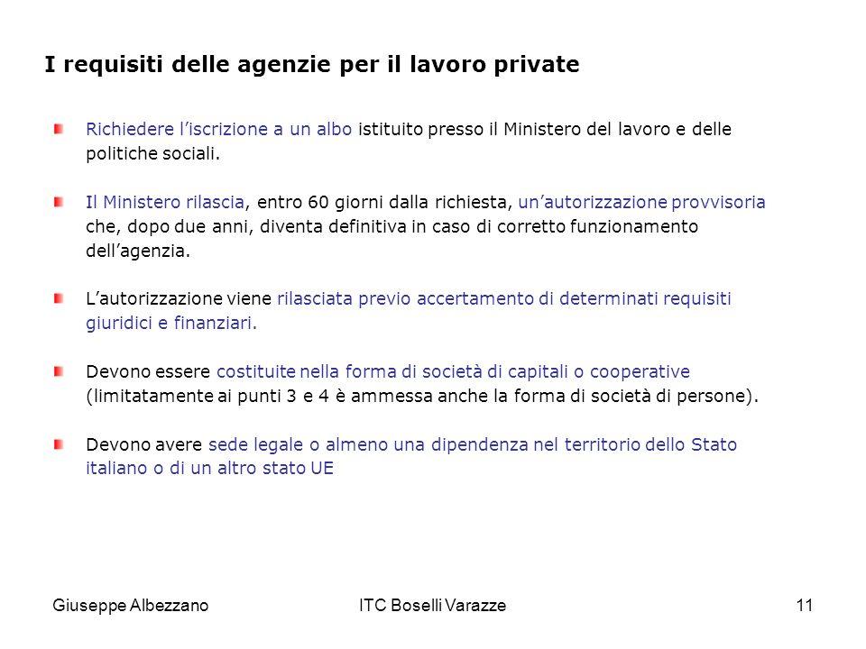 Giuseppe AlbezzanoITC Boselli Varazze11 I requisiti delle agenzie per il lavoro private Richiedere liscrizione a un albo istituito presso il Ministero del lavoro e delle politiche sociali.